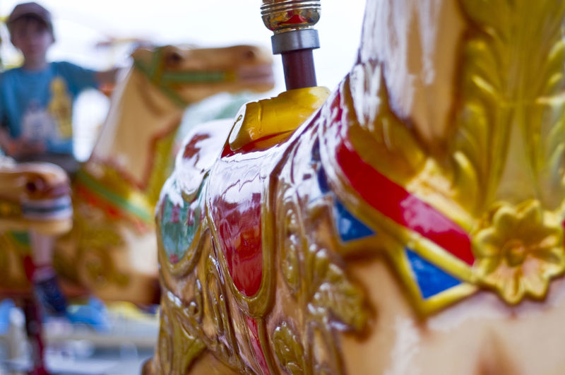 Close-Up Of Carousel Horse In Amusement Park