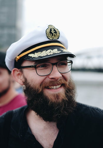 Avast! EyeEmOnABoat Beard Cap Day Eyeglasses  Facial Hair Focus On Foreground Glasses Headshot Leisure Activity Lifestyles Looking At Camera Men One Person Outdoors Portrait Real People Smiling Uniform Young Adult Young Men