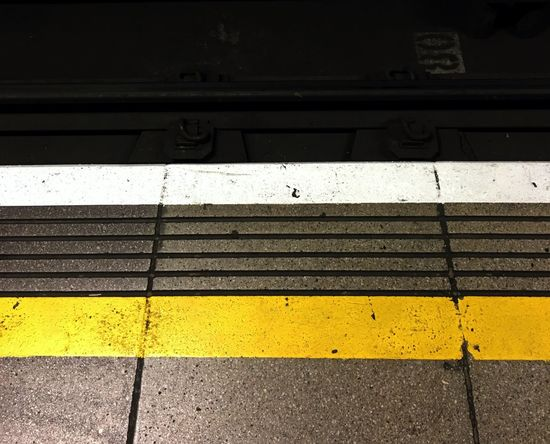 Yellow Line Train Tracks Mind The Gap