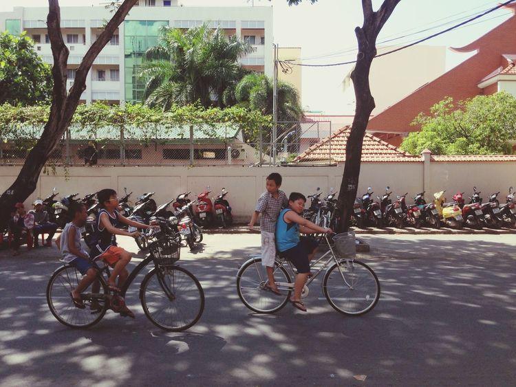 Kids Bicycle Saigon Vietnam ASIA Sunday