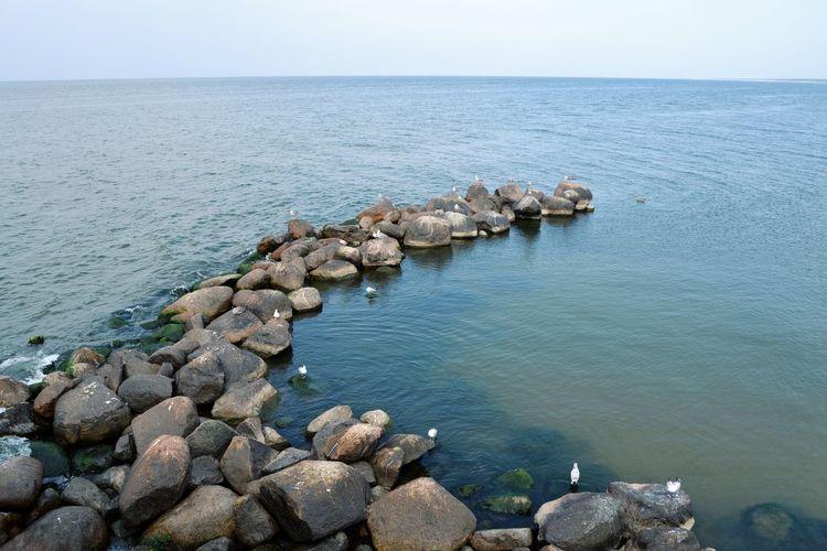EyeEm Selects Water Sea Pebble Beach Beach Groyne Pebble Rock - Object Sky Horizon Over Water Rocky Coastline Stone - Object