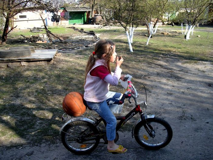 Bicycle Child Childhood Full Length Horizontal Outdoors Tree девочка на велосипеде