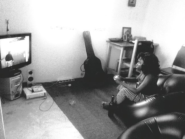Chilling laid back Black Grey & White B&w From My Point Of View Peace, Love And Weed. GTAIV Chick Gamers Xbox360 the one that got away