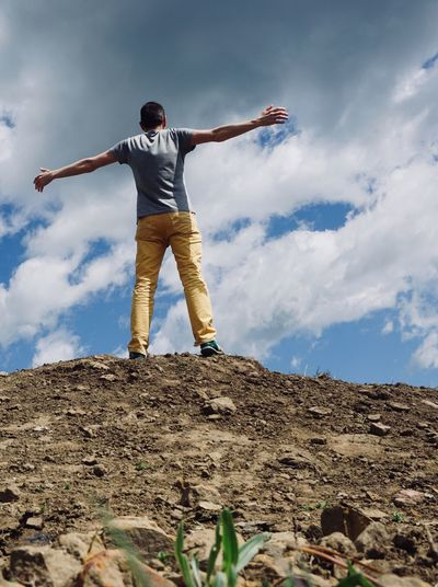 man trekking in the mountain in the nature in summer Man person People Boy Nature Mountain Trekking Meadow Field Countryside Sky Summer Tranquility Serenity Relaxing Relaxation View Freedom Happyness Bilbao SPAIN Standing