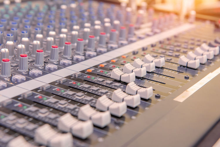 Audio Equipment Sound Mixer Music Sound Recording Equipment Studio Technology Control Recording Studio Mixing Arts Culture And Entertainment Noise Equipment Control Panel In A Row Close-up Stereo Indoors  Industry Broadcasting Selective Focus Push Button Electrical Equipment Radio Station Complexity Electric Mixer