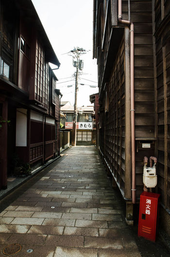 Japanese wooden houses and a narrow street Architecture Building Exterior Built Structure Day Narrow No People Outdoors Street The Way Forward Walkway