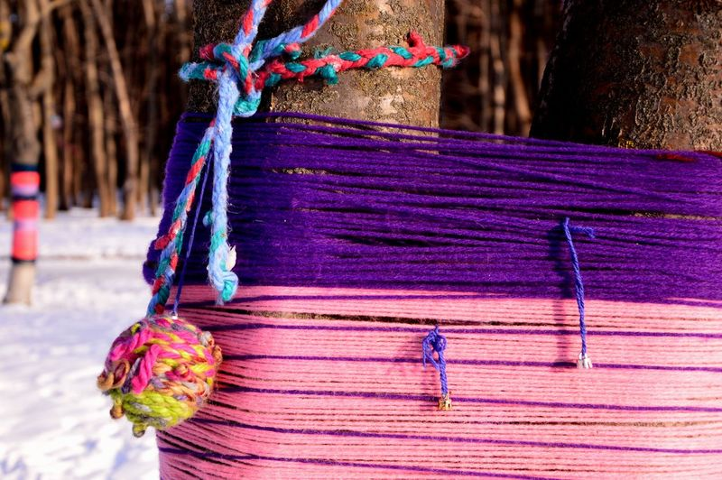 Close-up of multi colored decorations hanging on wood
