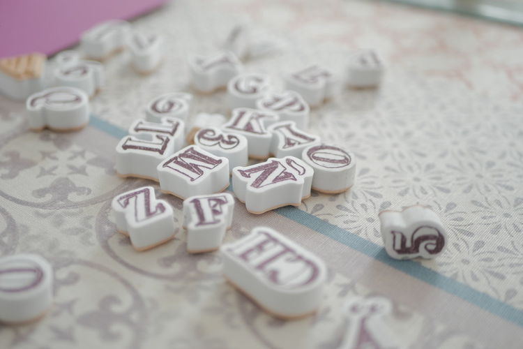 Close-up of text on table