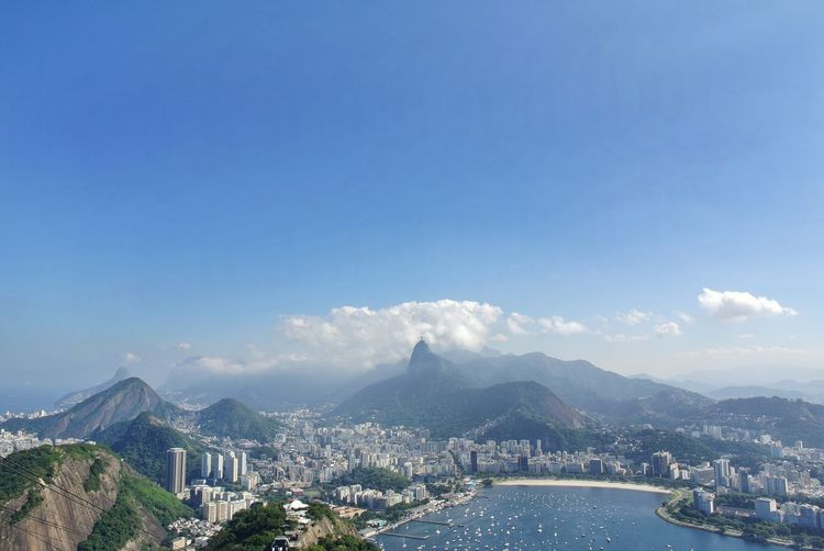 Cityscape. Rio, Brazil. Beach Blue Sky Travel Beauty In Nature UNESCO World Heritage Site EyeEm City Shots EyeEm Nature Collection Nature Botafogo Cable Car From Where I Stand View From Above Guanabara Bay Rio De Janeiro Rio De Janeiro Eyeem Fotos Collection⛵ Brazil Pão De Açucar Sugarloaf Christ The Redeemer Corcovado Atlantic Ocean City Cityscape Urban Skyline Mountain Skyscraper Modern Sea Horizon Mountain Range