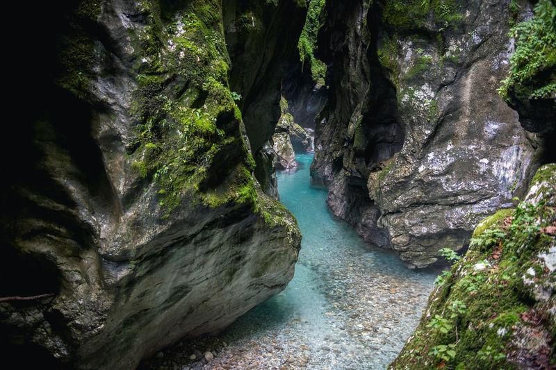 Tolmin gorges amidst rocky cliffs at triglav national park