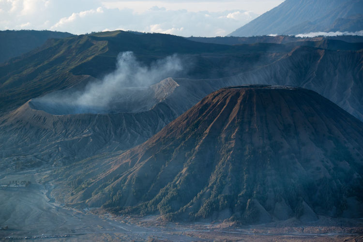 Smoke emitting from volcanic mountain in mount bromo indonesia