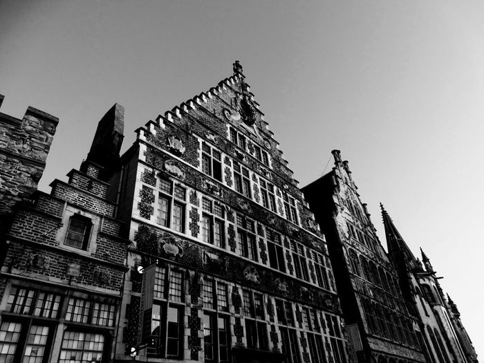 Architecture Low Angle View Building Exterior Built Structure Travel Destinations Day Outdoors Sky No People Flamand Architecture City Cityscape Architecture Ghent Tourism Destination Ghent Canal Travel Destination Ghent,Belgium Black And White Friday The Architect - 2018 EyeEm Awards