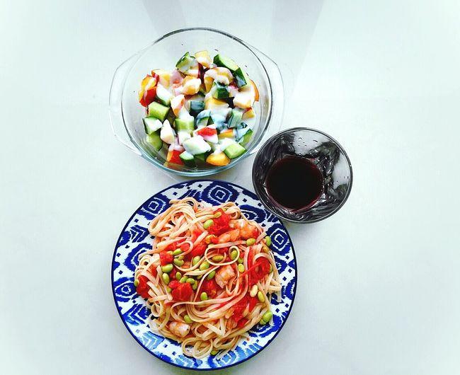 My Favorite Breakfast Moment Tomato Pasta Nectarine Cucumber Yogurt♡♡♡♡♡ Happy Time Moments Of Life Enjoying Life Cooking Time Breakfast ♥ Cooking At Home Goodmorning :) Enjoy Life