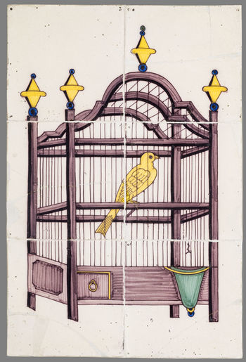 16th Century 17th Century 18th Century Animal Themes Animals In The Wild Bird Birdcage Budgerigar Cage Ceramics Day Nature Netherlands No People Outdoors Parrot Perching Pets Tile Yellow