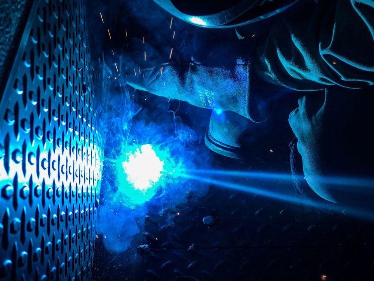 Welding Blue Glow Manufacturing Equipment Working Working Hard Heat - Temperature