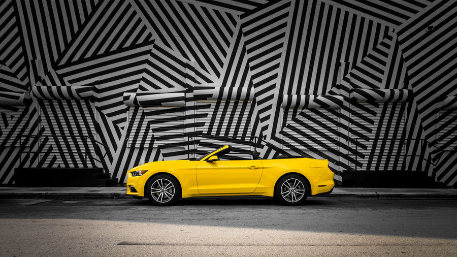 Let`s ride that yellow horse. Car Convertible Design Ford Mustang Mustang Pattern Wynwood Wynwood Walls Yellow Pattern Pieces