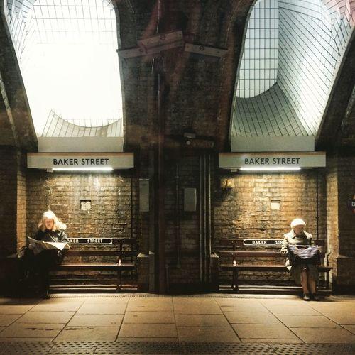 Two ladies at Baker Street station London Londonunderground Thetube Bakerstreet Baker Street London Underground London Tube Londonlife Waiting For A Train Waiting Urban Life Showcase March