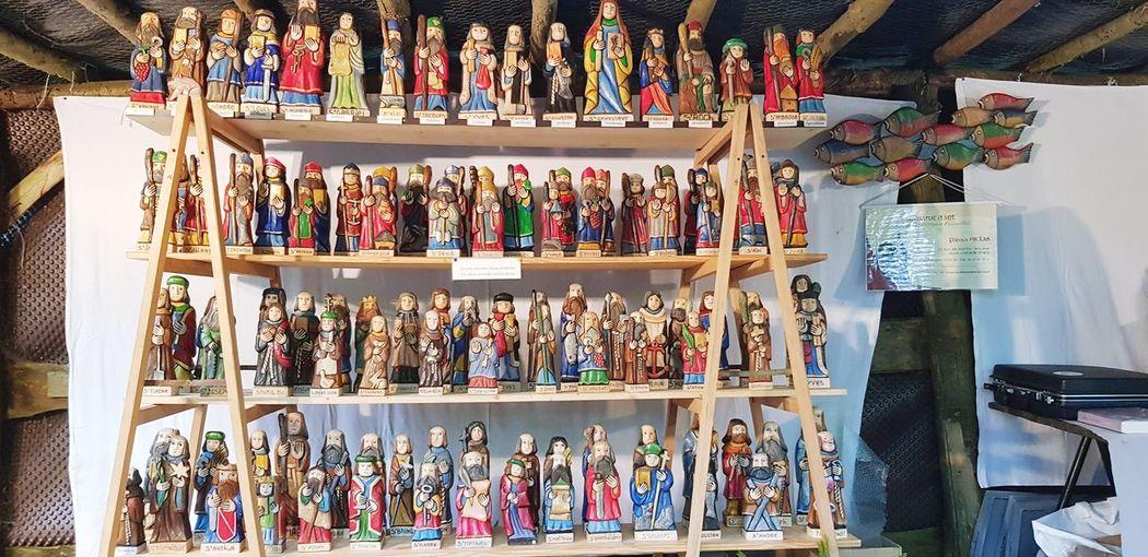 Multi colored figurines for sale in store