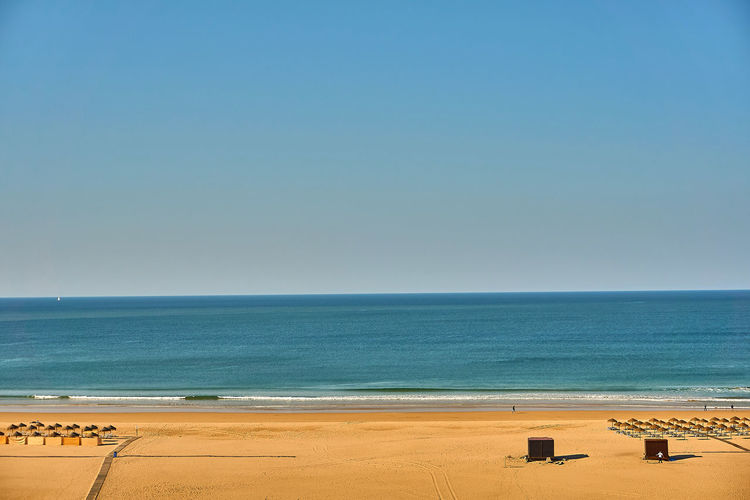 A beach on a sunny day Sea Water Beach Horizon Horizon Over Water Sky Land Beauty In Nature Scenics - Nature Tranquility Clear Sky Copy Space Sand Nature Tranquil Scene Blue Day Idyllic No People Outdoors