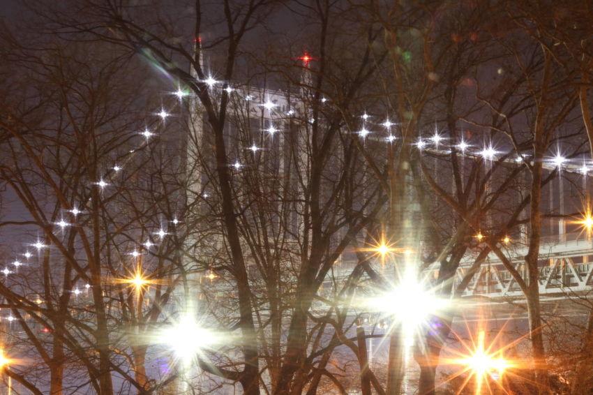 Looking Out The Window  at the Triboro Bridge Astoria, Queens Bridge Lights At Night Bridge Bridgeporn Bridge View Starburst Twinkling Lights Trees Canonphotography