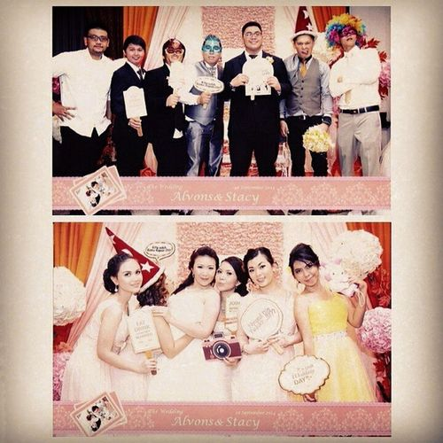 ? ? a happy couple with their happy bridesmaid and bestman on AlvonStacyWedding ? Re-gram from @ludwinavita