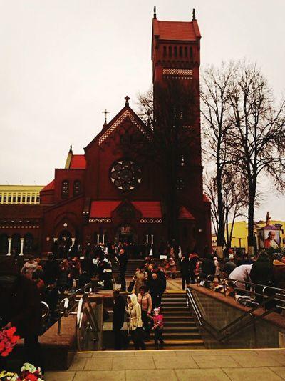 Hallo World Taking Photos Catholic Church Church Of St. Simon And Alena Lenin Square Catholic Holiday Belarus Minsk