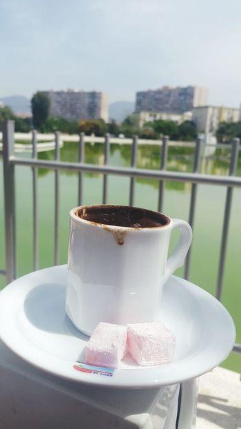 😍😍 Railing No People Day Food And Drink Outdoors Plate Drink Water Close-up Coffee Turkishcoffee Türkkahvesi