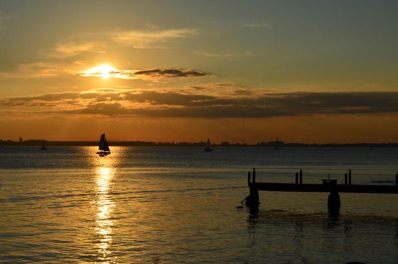 Light Boat Nature Orange Color River Scenics Sunset Tranquility