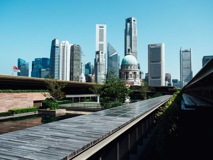 View from the top of the National Gallery of Singapore 3 Architecture Buildings Built Structure CBD City City Life Cityline Cityscape Day Leading Lines Modern Office Building Outdoors Rooftop Singapore Sky Skyline Skyscraper Tall - High Urban Skyline