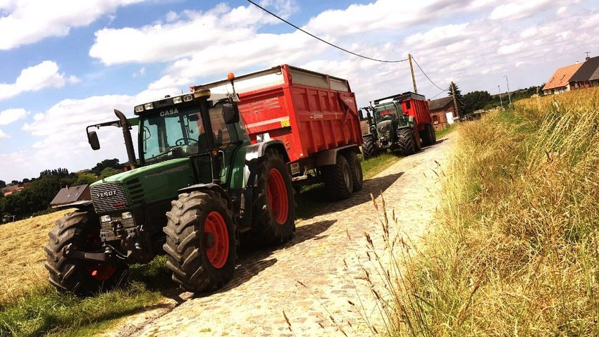 Harvest start in north france this is carrier for cereal Tracteur Tractor Tractors Transportation Harvest Campagne Scene Fendt Old Road Chemin De Terre North France Agricole