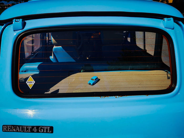 View of blue car window