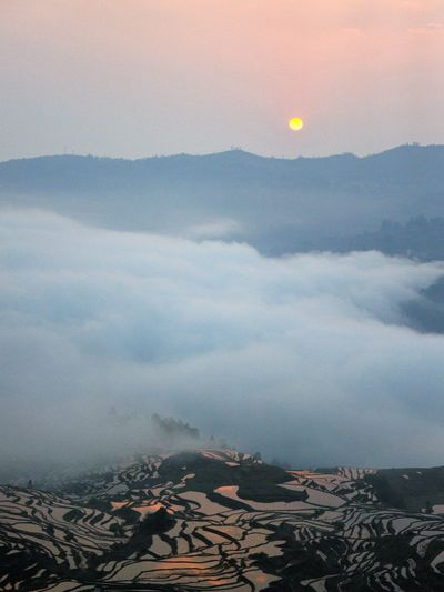 yuanyang terrace sunrise Water Mountain Aerial View Sunset Cityscape High Angle View Sky Architecture Landscape Building Exterior