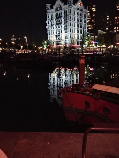 Rotterdam Oudehaven Harbour White Tower Evening Light Little Lights Happy Reflection City City Life Night Tranquility