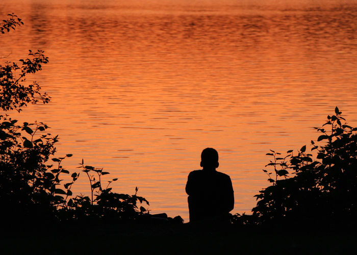 Rear view of silhouette man looking at lake against sky during sunset