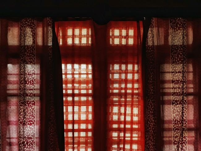 EyeEmBestPics WINDOW WITH A VIEW Red Curtain Indoors  Afternoon Geometric Shapes Drowzy Lazing About
