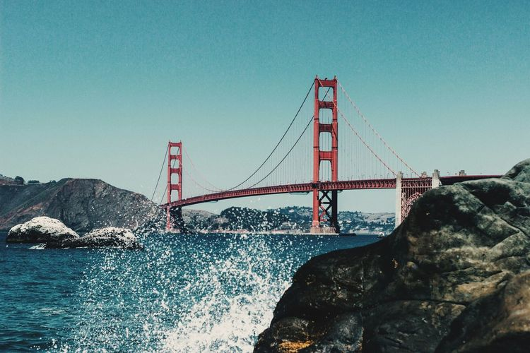 Golden gate bridge against clear sky