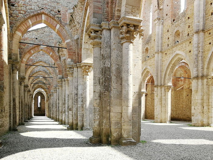 Abbey Abbey Ruins San Galgano Church Architectural Column Corridor Arch Sunlight History Place Of Worship Architecture Built Structure