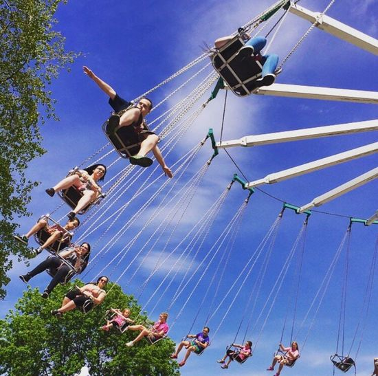 🎪Free Fallin🎪 Low Angle View Blue Tree Sky Mid-air Flying Day Colorsandpatterns Colors And Patterns Multi Colored EyeEm Best Shots EyeEm Gallery EyeEm Team This Week On Eyeem Fresh On Eyeem  EyeEm EyeEmBestPics My Children's Smiles Freedom Theartofflight Swings