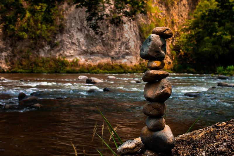 Stack of rocks in the lake