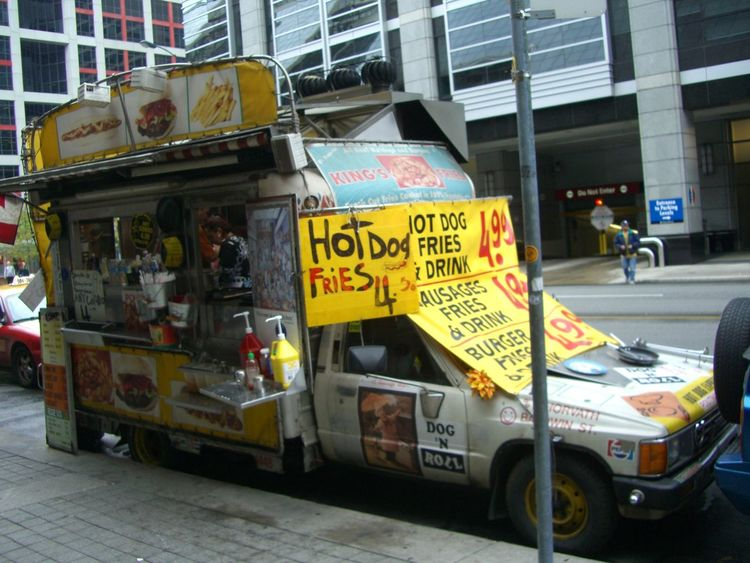 Hot Dog Van Canada City City Life City Street Composition Food And Drink For Sale Full Frame Hot Dog Stand Hot Dog Vendor Hot Dogs Information Information Sign Mode Of Transport No People Outdoor Photography Parked Snacks Snacktime Toronto Tourism Tourist Destination Vanishing Point Yellow