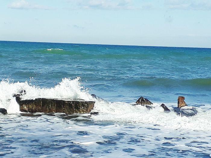 Sea Water Beach Wave Horizon Over Water Nature Day