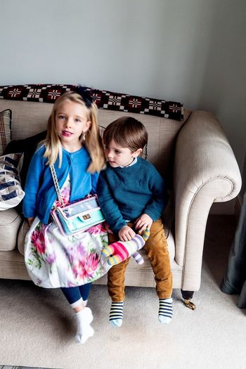 My sister and me Child Childhood Females Family Full Length Real People Two People Women Girls Togetherness Indoors  Innocence Sofa Casual Clothing Front View Emotion Furniture Sibling Sister Cute Positive Emotion