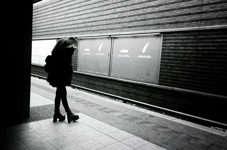 Waiting for the train to come Public Transportation Notes From The Underground Commuting Platform My Fuckin Berlin Streetphotography Black & White Blackandwhite Black And White Streetphoto_bw Eye4photography  Winter Woman Shoes Berliner Ansichten Bw_collection Waiting For A Train Waiting EyeEm Bnw