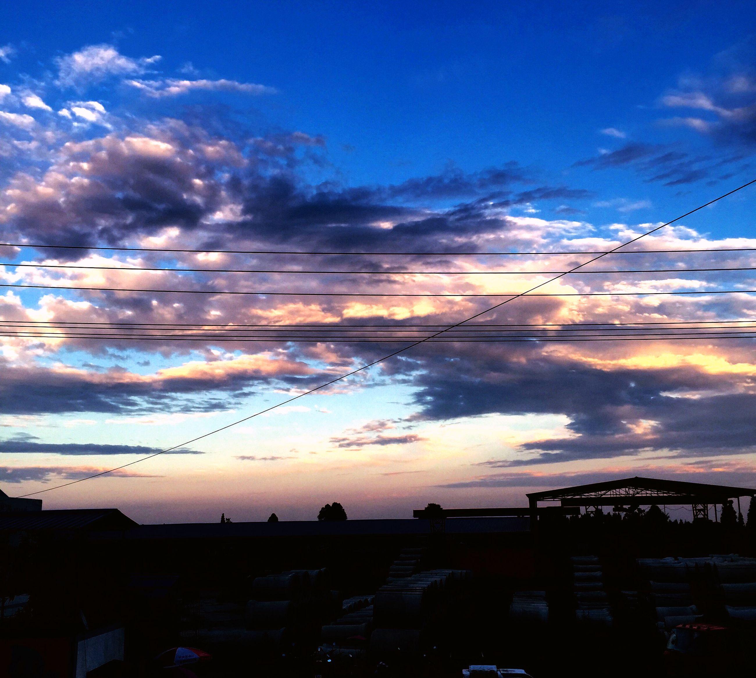 sunset, sky, transportation, cloud - sky, mode of transport, connection, silhouette, cloud, power line, scenics, car, nature, beauty in nature, dusk, electricity pylon, cloudy, orange color, land vehicle, blue, no people