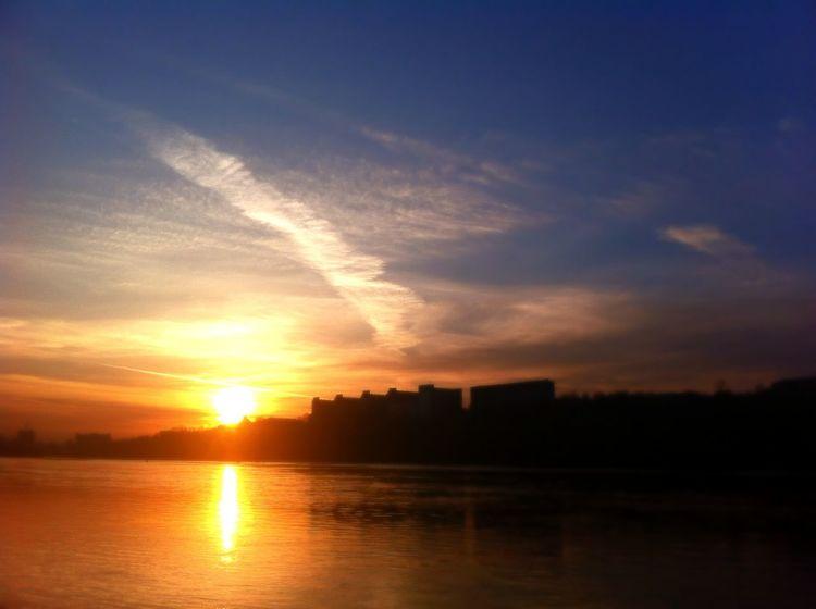 город Енисей Закат красноярск небо река солнце