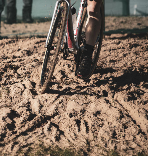 Playing in the sand Sports Sport Low Section Tire Sand Beach Shadow Bicycle Sunlight Close-up Mountain Bike Cycling Racing Bicycle Pedal Spoke Wheel Riding Exercise Bike Biker