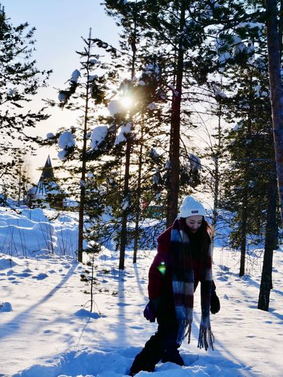 In the snow Life Snow Winter Cold Temperature Tree Real People Leisure Activity Nature Sunlight
