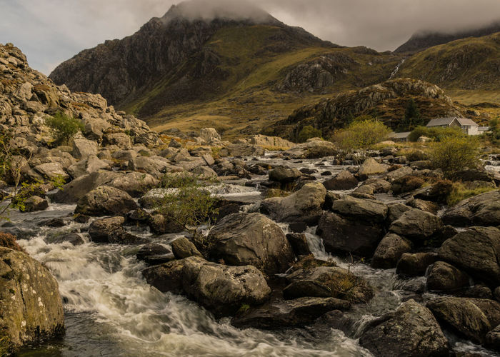 LLyn Ogwen Beauty In Nature Day Mountain Mountain Range Nature No People Outdoors Rock - Object Scenics Sky Tranquil Scene Tranquility Water Waterfall