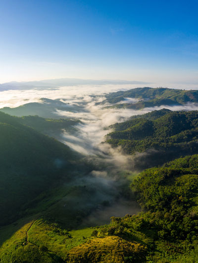 Natural valley in thailand aerial view from drone rain season