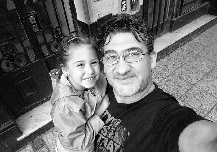 Love Without Boundaries Happiness People Selfie ✌ Kidsphotography Selfie With Daddy Outdoors Father And Daughter Selfie Portrait Happy People View From Above Black And White Photography Blackandwhite EyeEm Best Shots - Black + White EyeEm Best Shots Happy Pepole